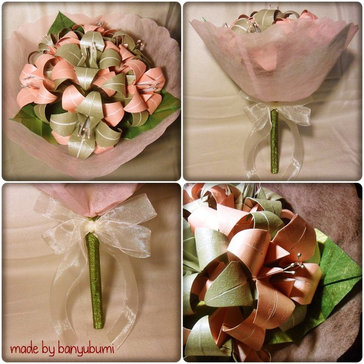 Lily origami bouquet | Pink & silver paper | Instagram @made_by_banyubumi | #origami #paperfolding #origamiflower #bouquet #flower #handmade #DIY #origamiwork