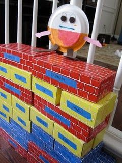 Humpty Dumpty in the block area...color code lyrics so they could practice 1:1 from memory?