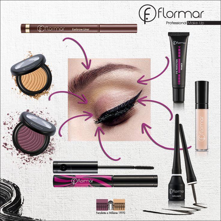 Şapte produse pentru un machiaj complet al ochilor: 1- Fard Mono Eyeshadow - 03; 2 - Fard Mono Eyeshadow - 21; 3 - Rimel Rotating; 4 - Tuş Dipliner; 5 - Anticearcăn Liquid; 6 - Eye Primer; 7 - Tuş pentru Sprâncene- Eyebrow Liner.