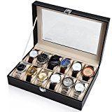 #10: Readaeer Caja para Relojes con 12 compartimentos  Buzón Memoria con tapa de cristal negro de piel sintética
