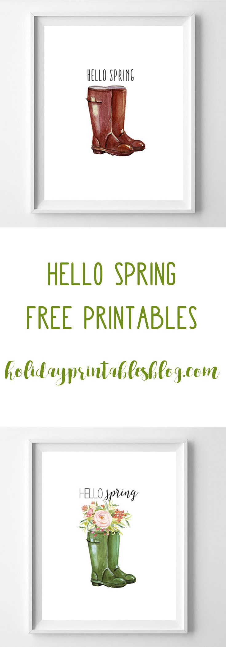 "Welcome spring with these ""hello spring"" free printables featuring wellington boots! A simple and sweet printable perfect for your home decor."
