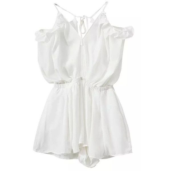 White Sheer Chiffon Ruffle Off-Shoulder Romper ($29) ❤ liked on Polyvore featuring jumpsuits, rompers, playsuits, dresses, onepiece, white, ruffle romper, ruffle rompers, playsuit romper and off the shoulder jumpsuit
