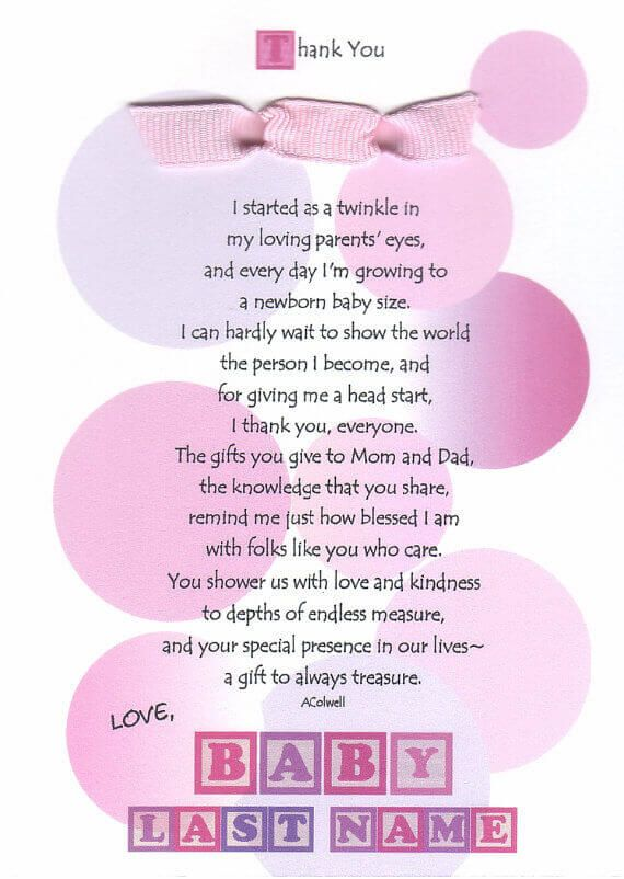 Baby Gift Poem : Best baby shower thank you ideas on