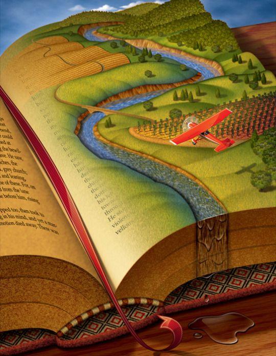 LecturImatges: la lectura en imatges Sobrevolando la lectura (ilustración de Bill Bruning)