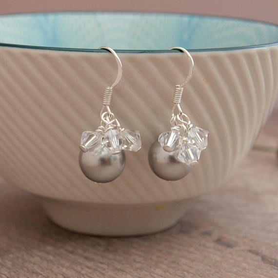 Grey Silver Pearl Bridal Earrings  Silver Pearl Wedding