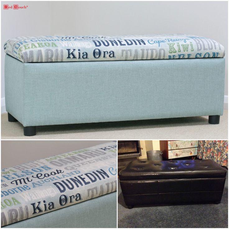 Kiwiana script fabric ottoman/ blanket box