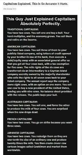 YOU HAVE TWO COWS. Found by my sister on tickld.com and posted on Facebook by her. Capitalism and Cows---- who knew?????
