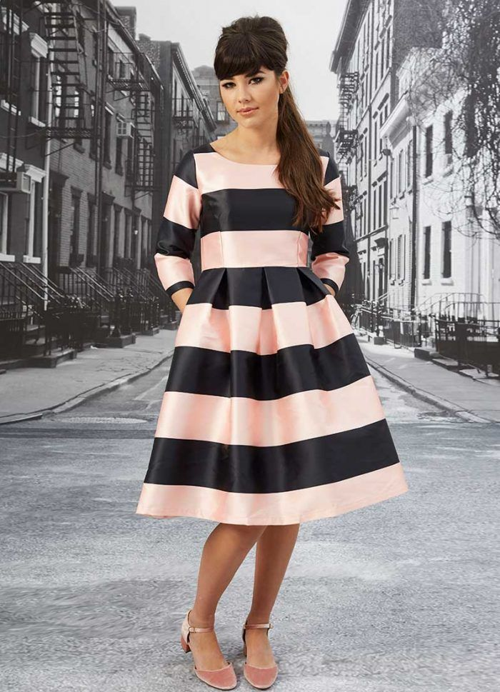 Cathy Pink and Black Stripe Dress