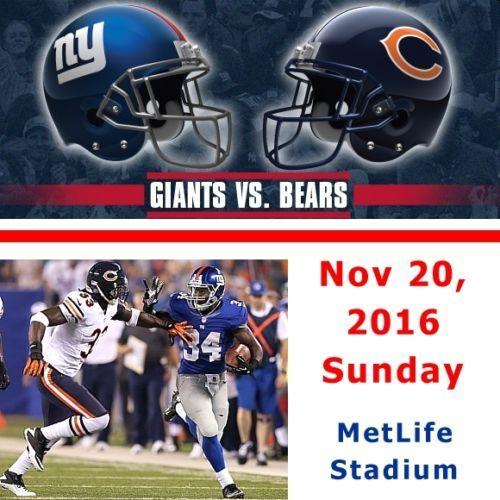 Chicago Bears vs NY Giants Tickets for sale! Nov 20, 2016 at MetLife Stadium. #NFL #Bears #ChicagoBEars #Giants #NYGiants #tickets #NFLtickets #eBay #football