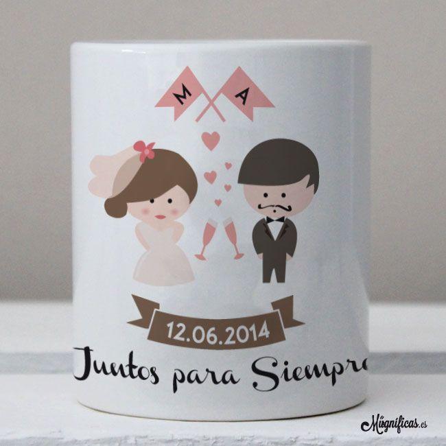 www.mugnificas.es Tazas para regalar. Diseños originales. Frases con diseño. Taza para una boda. Regalo de boda. Novios