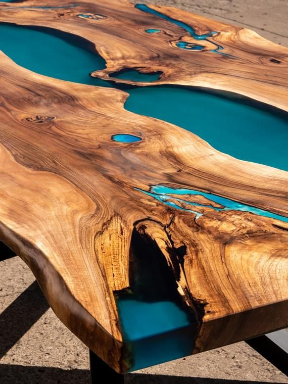 Live Edge Resin River Dining Table With Turquoise Glowing Resin