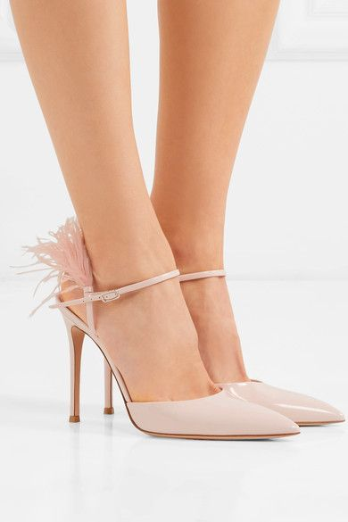 Heel measures approximately 100mm/ 4 inches Baby-pink patent-leather (Calf) and feathers (Ostrich) Buckle-fastening ankle strap Designer color: Rosa Ostrich: South Africa Made in ItalySmall to size. See Size & Fit notes.