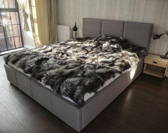 Silver fox king size blanket