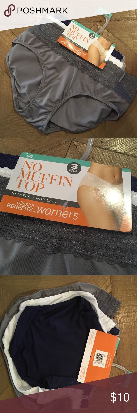 NEW no muffin top warners hipster underwear S 5 New with tags, size 5. Warners brand, no muffin top hipster style. Size S/5 three pairs warners Intimates & Sleepwear Panties
