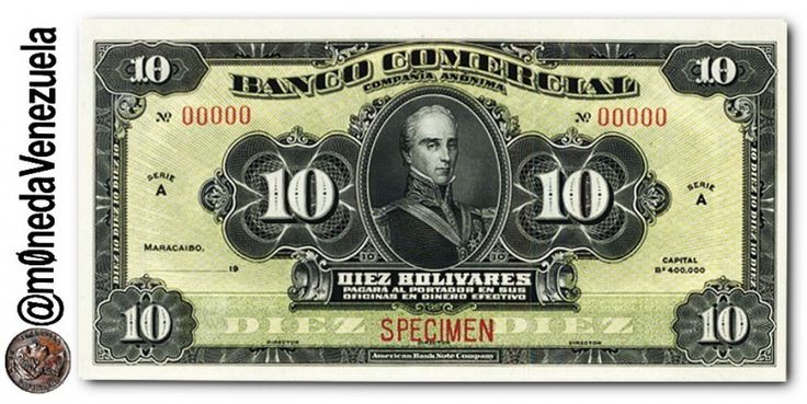 Billete 10 Bolívares de 1916 del Banco Comercial (Maracaibo) Billete 10 Bolívares de 1916 del Banco Comercial Anverso Billete 10 Bolívares de 1916 del Banco Comercial (Maracaibo). Por Victor Torrealba. En 1916 fue creado en Maracaibo el Banco Comercial con un capital de Bs. 400.000. Luego su nombre fue ampliado a Banco Comercial de Maracaibo. Posteriormente elevo su capital a Bs. 2.000.000 apareciendo este monto en los billetes de la emisión de 1928. El Banco fue intervenido el 29 de sept...