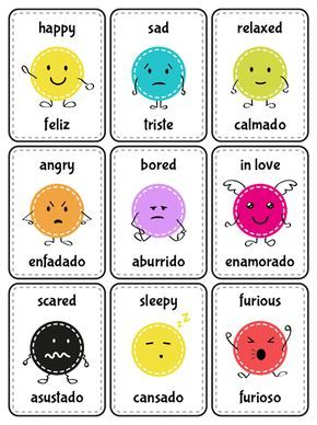 Tarjetas educativas: emociones en español e inglés