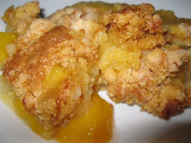 Easiest & best peach cobbler you'll ever make! in 9x13 pour 29oz can peaches w/juice, sprinkle butter cake mix on top, cover with 1 stick butter cut into pats. Bake @ 350 till golden and bubbly, about 30 minutes.