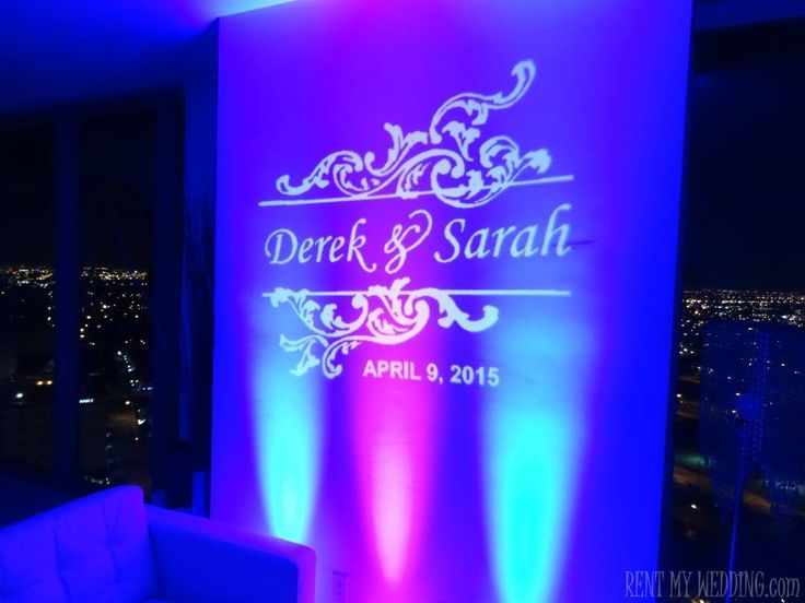 @rentmywedding colorful #uplighting and a custom #gobo #monogram make the perfect pair!