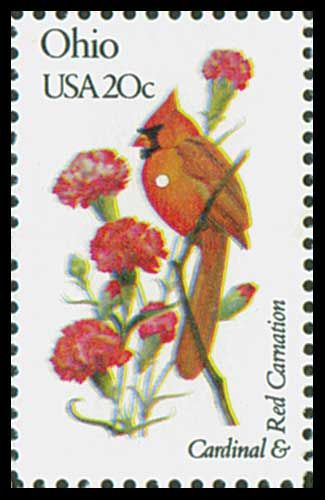 1982 20c Ohio State Bird & Flower - Catalog # 1987 For Sale at Mystic Stamp Company