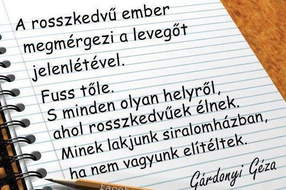 Gárdonyi Géza gondolata a rosszkedvűségről. A kép forrása: Magyar Nyelv