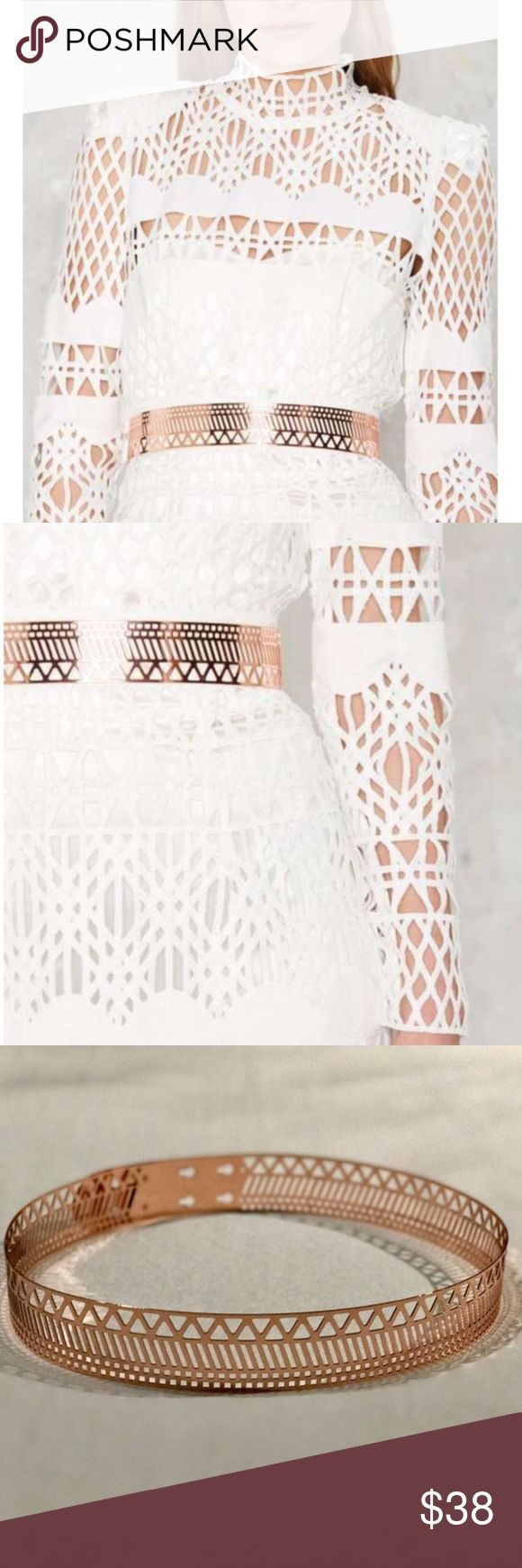 """New Nasty Girl ROSE GOLD METAL BELT SZ XL/XXL New! Super sexy high impact! Rose gold metal waist belt with laser cut out design all around. Easy stud lock closure - fantastic against black or white ! Waist fit - Ranges from a 33"""" waist to a 36"""" waist. Amazing! J22 Nasty Gal Accessories Belts"""