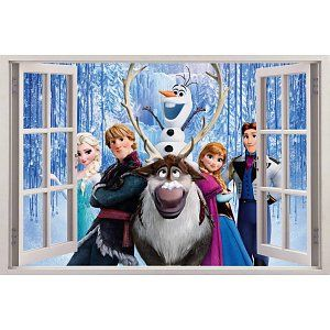 Open raam Frozen Princess Kerst muursticker full color