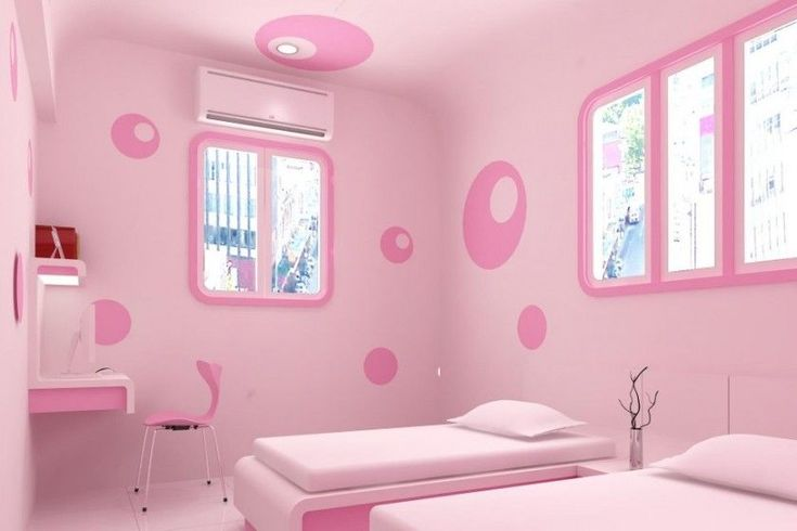 Attractive Bright Pink Wall Sticker Shared Teenage Girls Bedroom Design With Installed Walls Study Desk - Use J/K to navigate to previous and next images