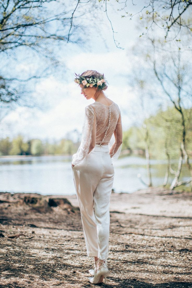 Middlemist Wedding Jumpsuit - Organic silk jumpsuit with lace back and sleeves by award-winning bridal designer Sanyukta Shrestha