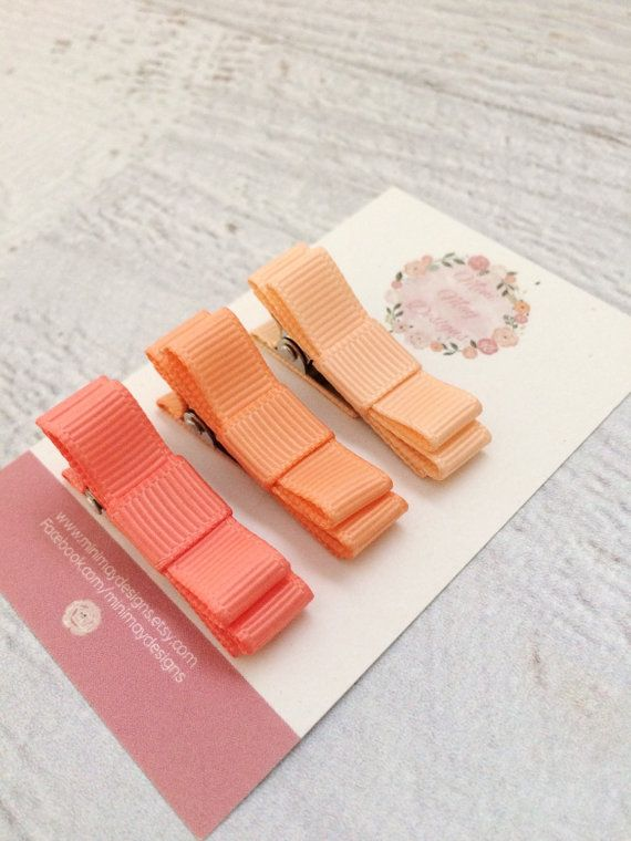 Girl's Hair Bows  Peach Hair Bows  Ribbon Hair by MiniMayDesigns