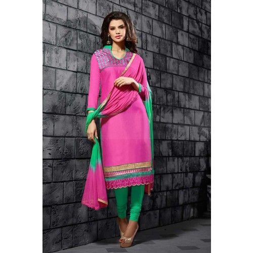 PINK COTTON CHURIDAR SUIT Price - £25.00 #OnlineShopping #IndianDresses #ShoppingUK #ChuridarSuitUK #ShopkundUK
