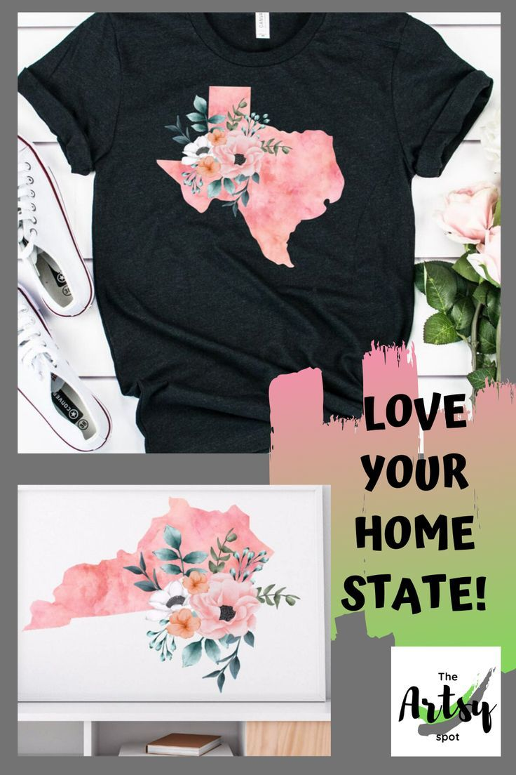 All 50 States In A Beautiful Floral Watercolor Design On Shirts