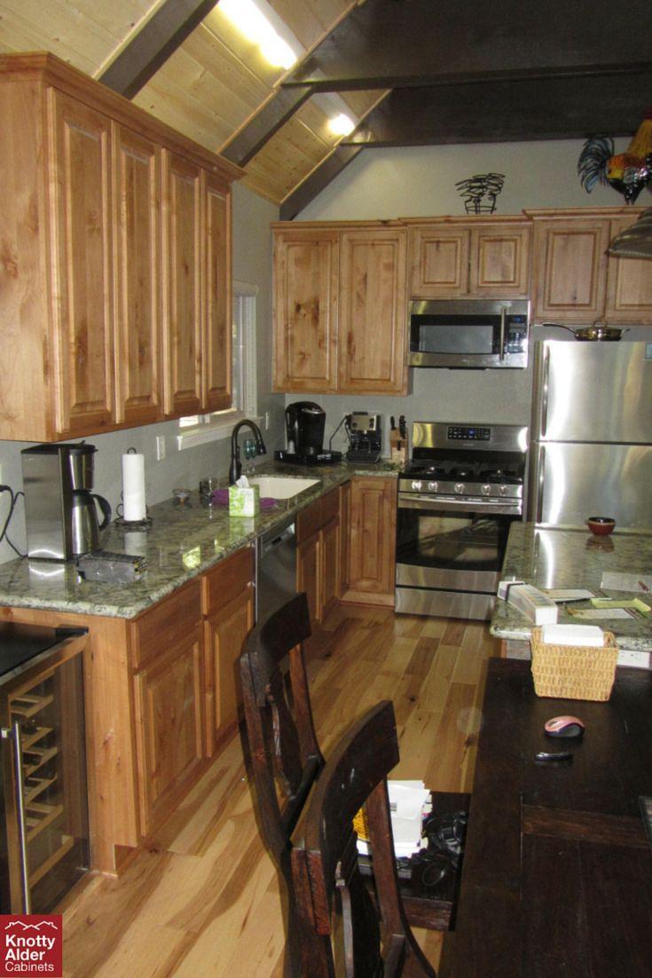 Knotty Alder Kitchen Cabinets, Hardwood Flooring, Grey ...