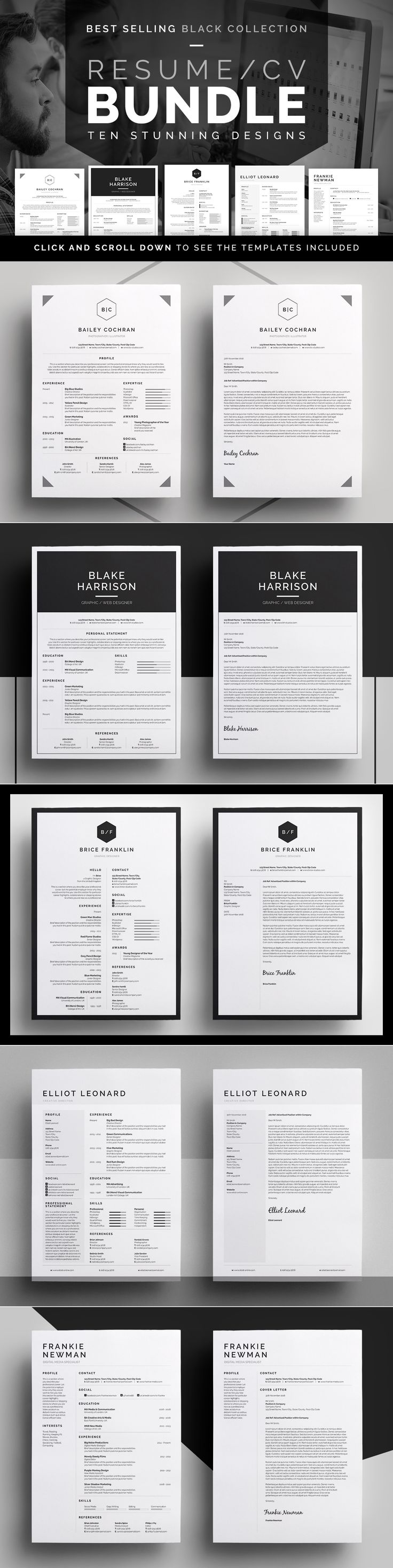 Resume/CV Bundle - 10 Modern, Professional designs with Matching Cover letters & Business cards. Easy edit templates. Black Collection by bilmaw creative on Creative Market