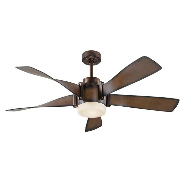 Kichler Lighting 52-in Mediterranean Walnut with Bronze Accents Downrod Mount Indoor Residential Ceiling Fan Lighting Technology Included Remote Control Included (5-Blade)