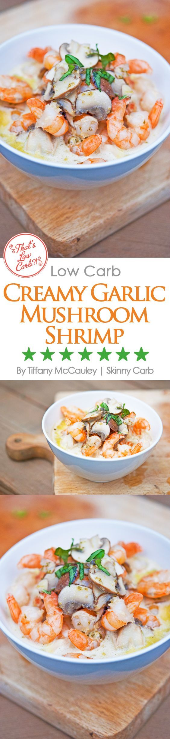 This Low Carb Creamy Garlic Mushroom Shrimp Recipe is decadent, has plenty of fats and will keep you full long after you eat. ~ http://www.thatslowcarb.com