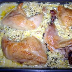 Eve's Chicken Quarters - chicken and rice baked with a creamy broccoli mixture.