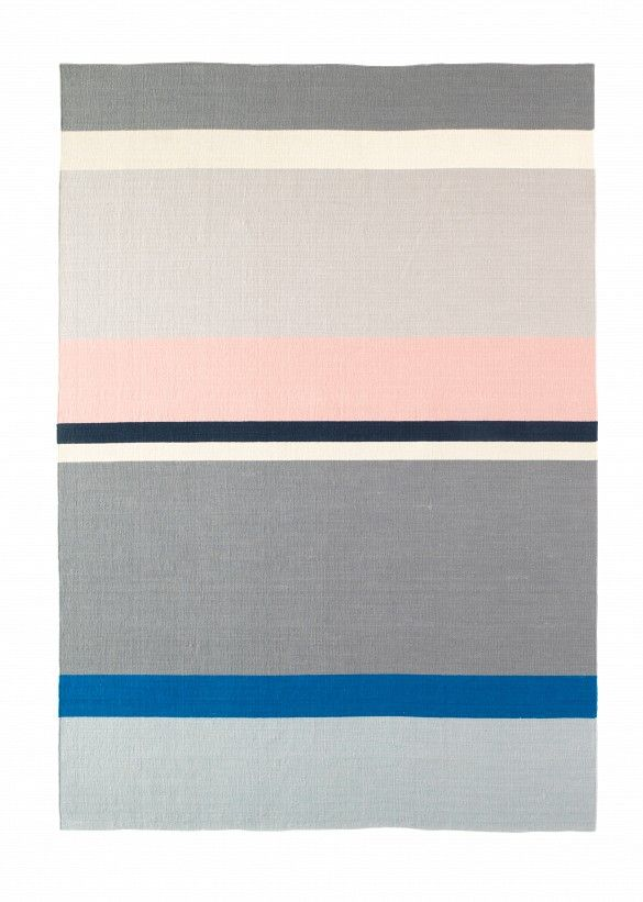 IKEA Rug // pastel pink and gray stripes