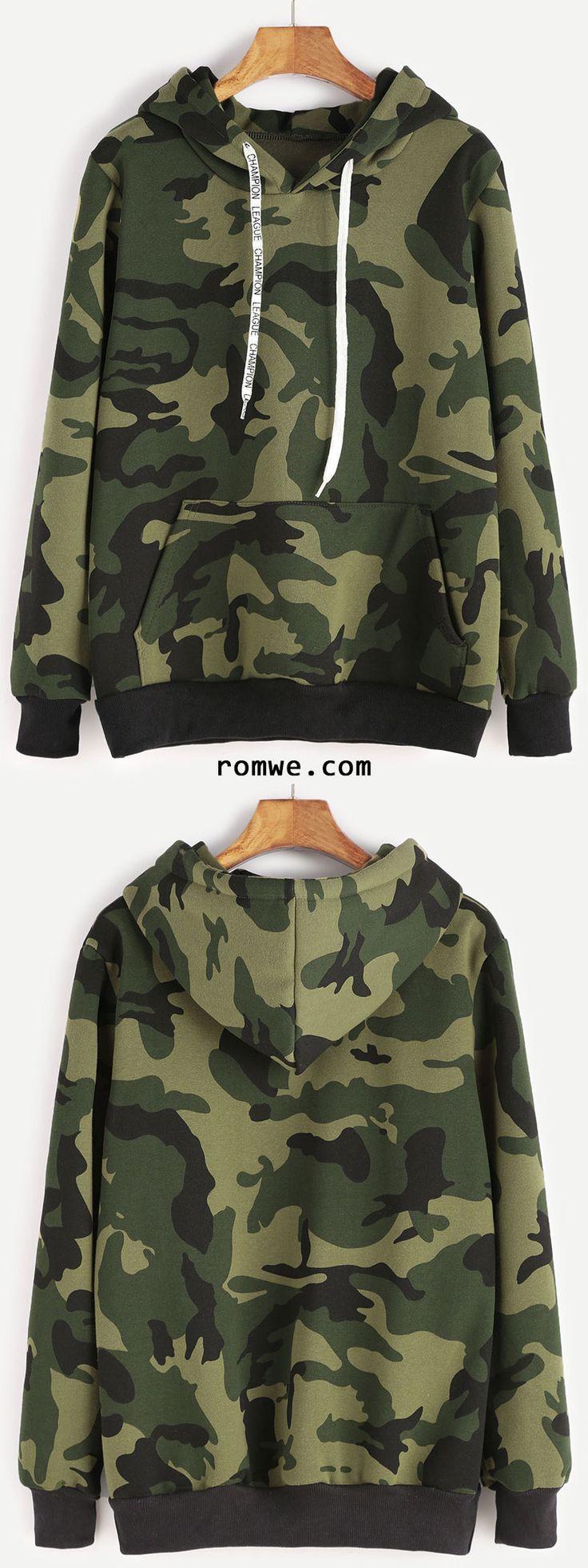 Camo Print Contrast Trim Drawstring Hooded Pocket Sweatshirt