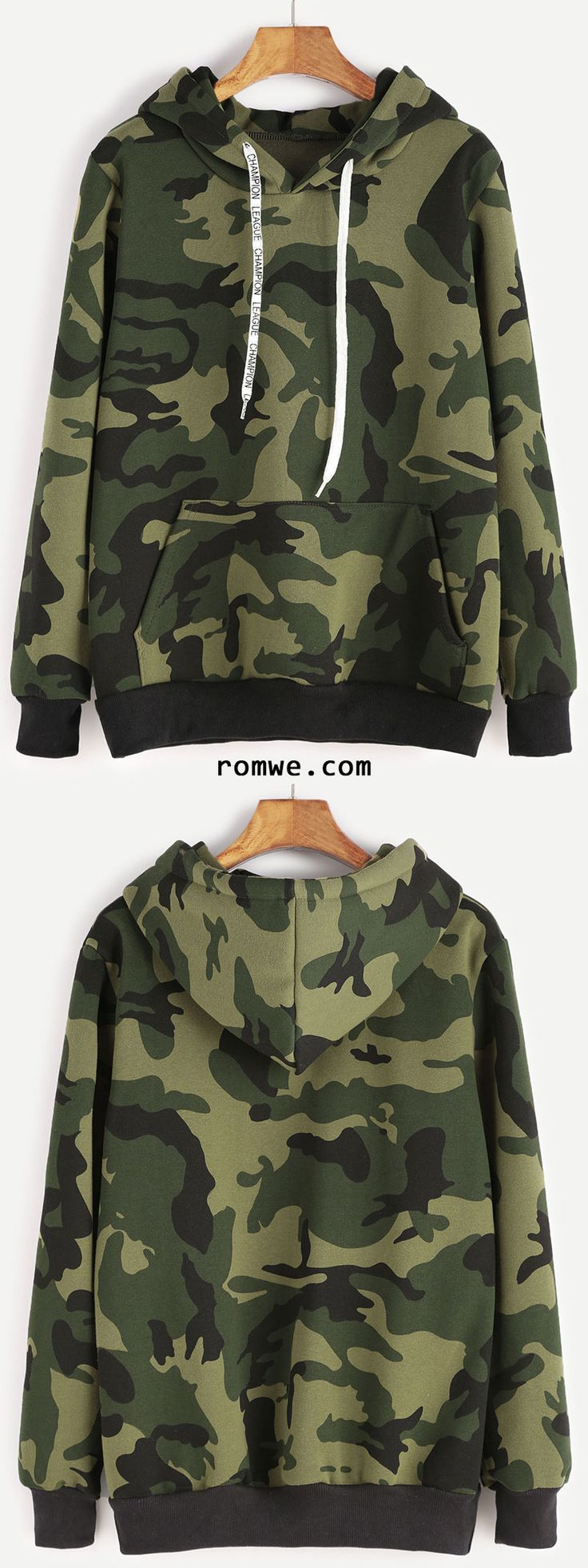 Camo Print Contrast Trim Drawstring Hooded Pocket Sweatshirt