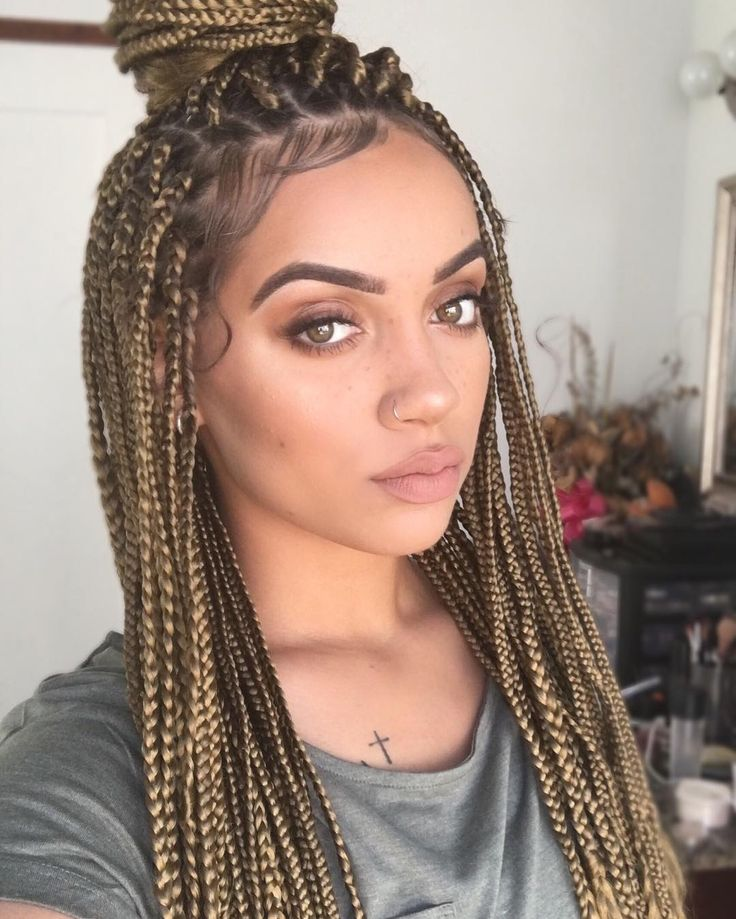 brown blonde box braids m a n e in 2019 blonde braids