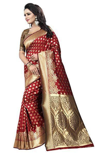 4dc466392b Perfect Wear WOMEN'S ETHNIC WEAR BANARASI SELF DESGIN ART SILK RED COLOUR  SAREE. (SAWARIYA