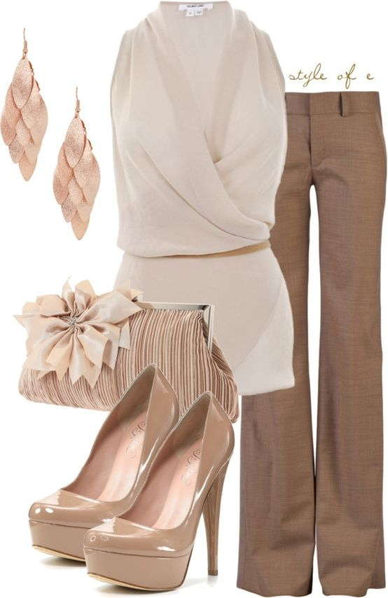 khaki chinos; taupe, sleeveless blouse with khaki belt; platform, nude pumps; ruched clutch with over-sized flower; and scaled, dangle earrings