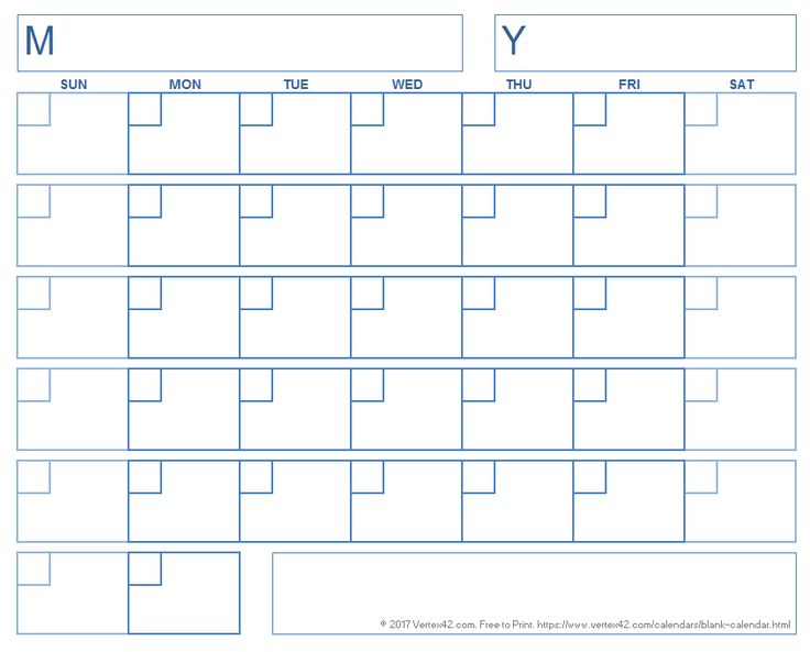 Blank Calendar with a Boxed Grid
