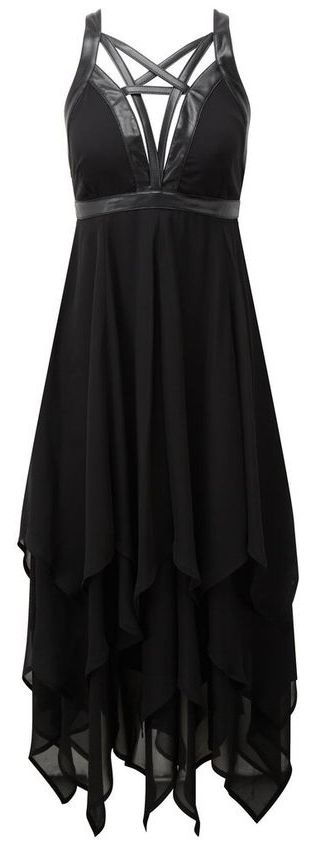 black chiffon gown with *pentacle* collar ♥