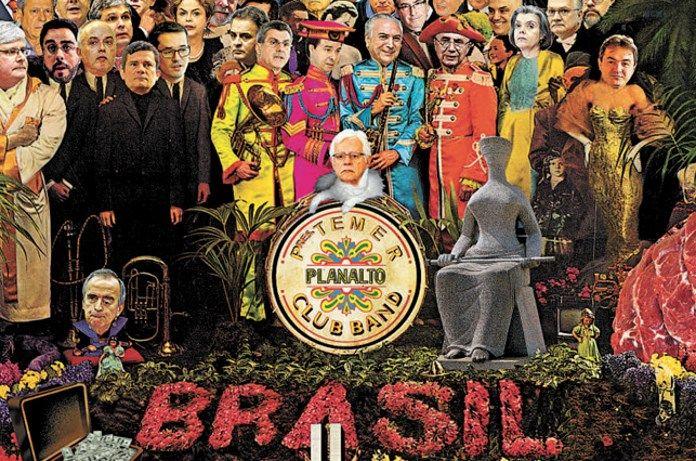 Veja capa genial do jornal Estado de Minas, que faz várias referências ao disco Sgt. Pepper's Lonely Hearts Club Band e governo de Michel Temer.
