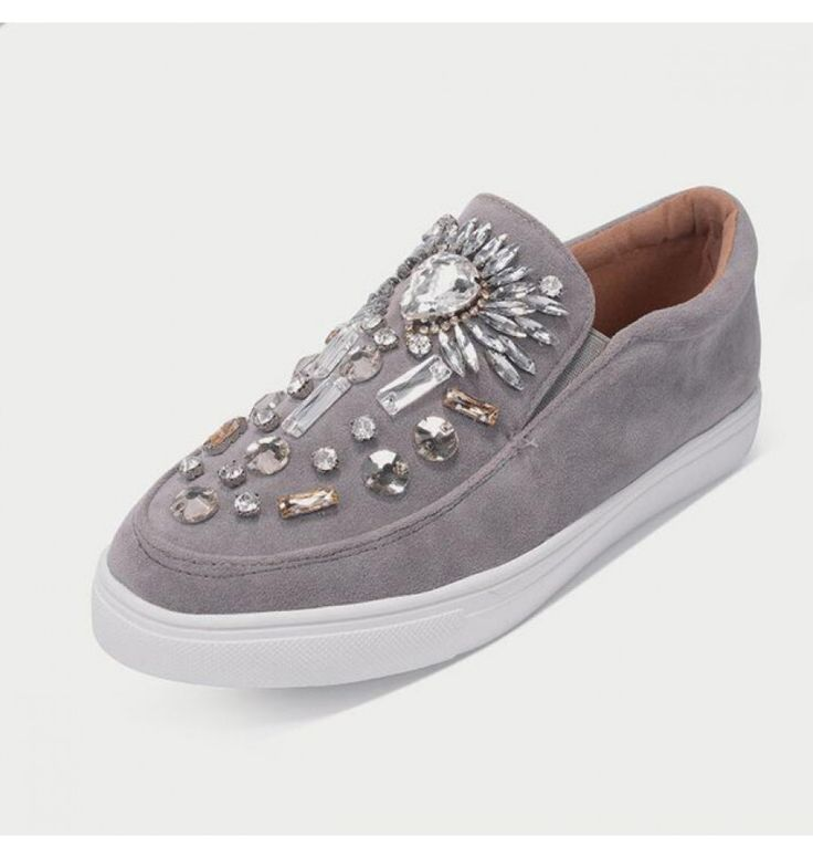 Stilvolle Faux Diamonds Frauen Bootsschuhe in Grau