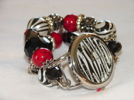Black and White and Red Chunky Beaded Watch Bande by BeadsnTime, $30.00