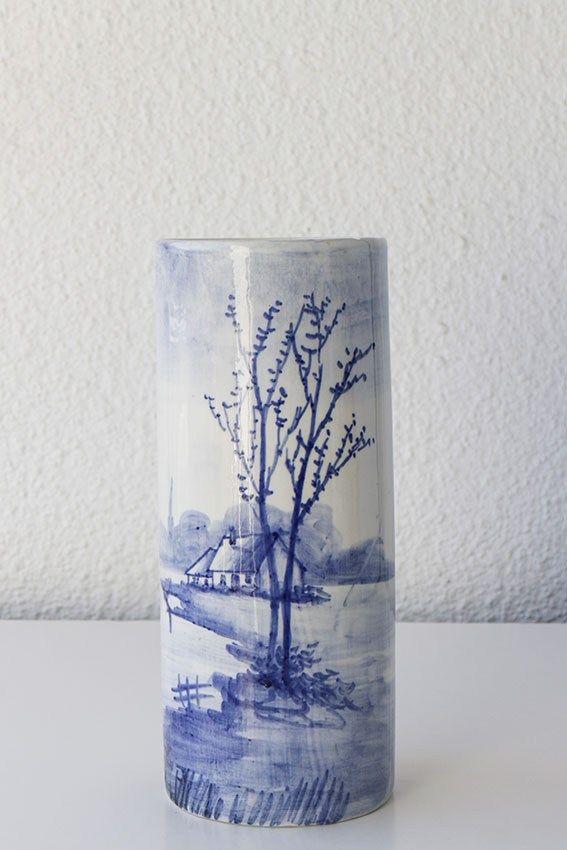 Jarrón cilíndrico cerámica tipo Delft