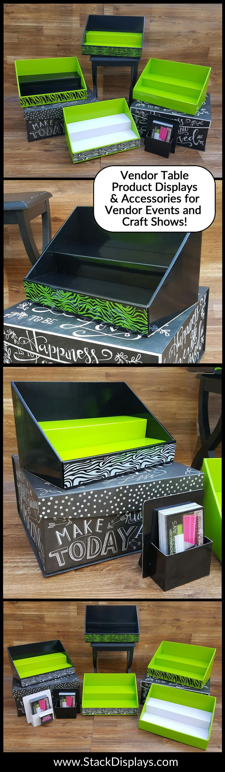 Black, Lime Green and White table top product displays for vendor events, craft shows and farmers market displays! So cool! Perfect for It Works Global Distributors.