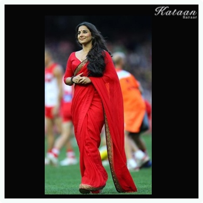 #Vidya Balan in a simple yet elegant RED saree